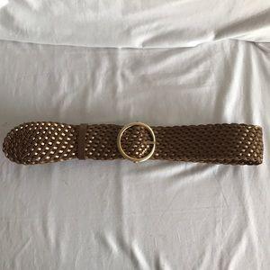 Cole Haan weave gold belt Sz L